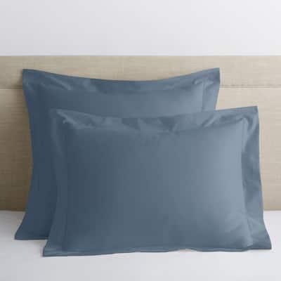 Legends Luxury Solid Mirage Blue 500-Thread Count Cotton Sateen Euro Sham