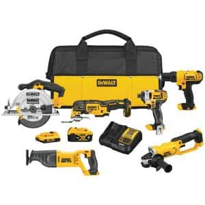 20-Volt MAX Cordless Combo Kit (6-Tool) with (1) 20-Volt 4.0Ah Battery, (1) 20-Volt 2.0Ah Battery & Charger