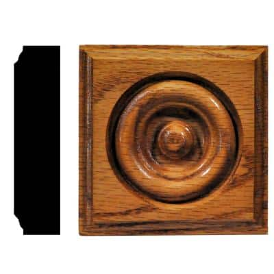 7/8 in. x 3-1/2 in. x 3-1/2 in. Oak Honey Oak Stained Rosette Block Moulding