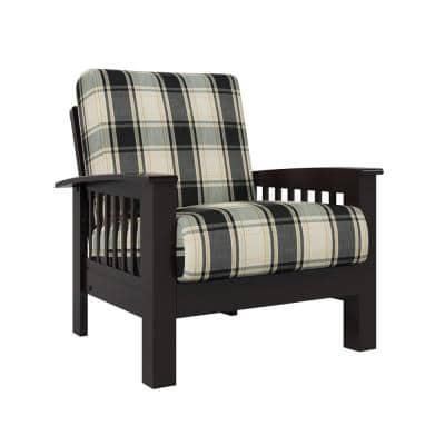 Omaha Mission Style Dark Espresso Arm Chair with Exposed Wood Frame in Brown and Black Plaid
