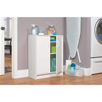 32 in. H x 24 in. W x 12 in. D White Wood Look 2-Cube Storage Organizer