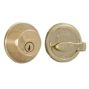 Essentials Lifetime Single Cylinder Polished Brass Deadbolt