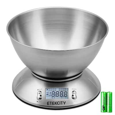EK4150 11 lb./5 kg Digital Kitchen Food Scale Stainless Steel Alarm Timer and Temperature Sensor