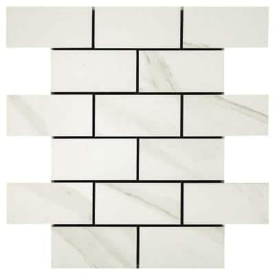Selwyn Bianco Calacatta Brick Joint 12 in. x 12 in. x 6.35 mm Ceramic Mosaic Floor and Wall Tile (0.83 sq. ft./Each)