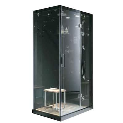 Jupiter Plus 43 in. x 31 in. x 86 in. Steam Shower Enclosure Kit in Black