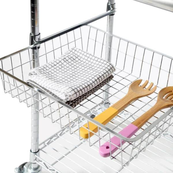 Seville Classics Stainless Steel Kitchen Cart With Basket She18321b The Home Depot