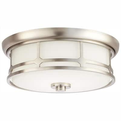 Portland Court 14 in. Brushed Nickel  LED Flush Mount Ceiling Light