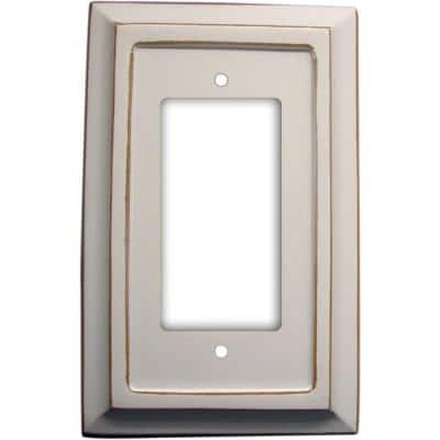 Savannah 1 Gang Rocker Wood Wall Plate - White