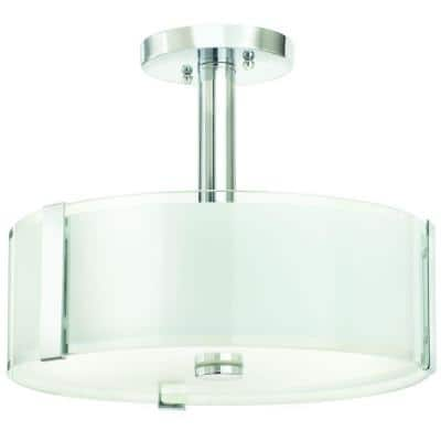 Bourland 14 in. 3-Light Polished Chrome Semi-Flush Mount