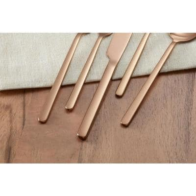 Brenner 20-Piece Stainless Steel with Copper Finish Flatware Set (Service for 4)