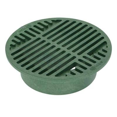 8 in. Plastic Round Drainage Grate in Green