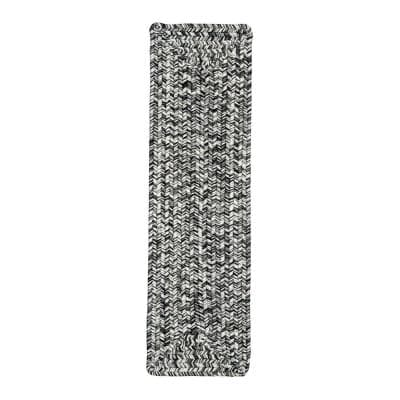 Salt and Pepper 8 in. x 28 in. Stair Treads Braided Lefebvre Indoor/Outdoor
