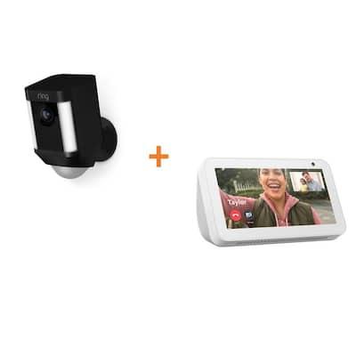 Spotlight Cam Battery Wireless Outdoor Rectangle Security Standard Surveillance Cam in Black, Echo Show 5 in Sandstone
