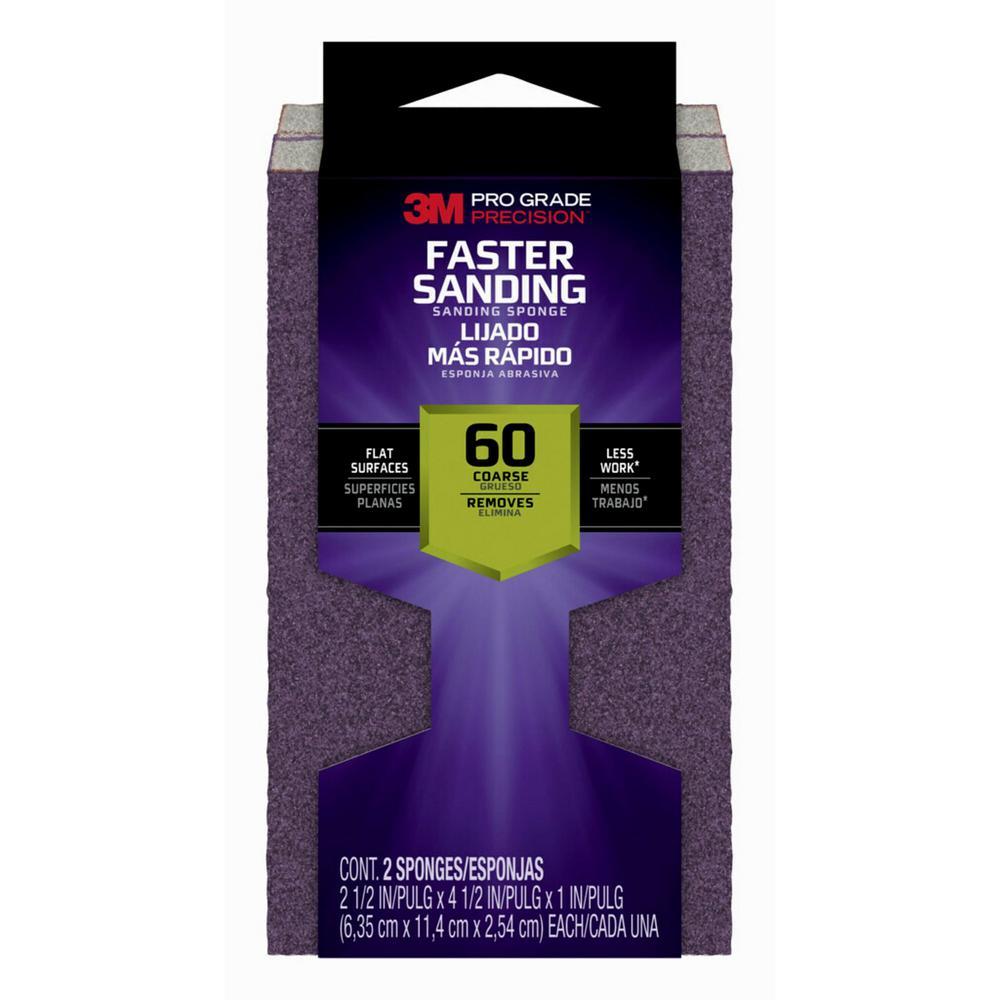Pro Grade Precision Faster Sanding Sanding Block Sponge 2pk, 2.5in x 4.5in x 1in, 60 grit, 2 each/pack