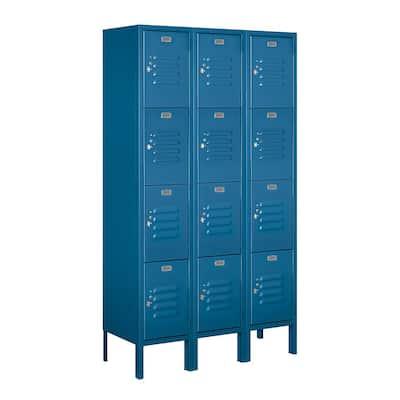 64000 Series 4-Tier 36 in. W x 66 in. H x 12 in. D Metal Locker Ready to Assemble in Blue