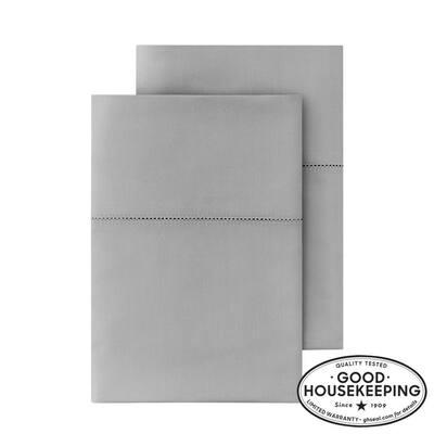 500 Thread Count Egyptian Cotton Sateen King Pillowcase in Stone Gray (Set of 2)