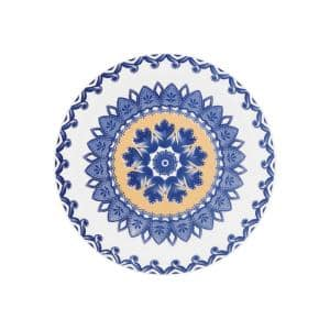 7.87 in. Floreal Blue and Yellow Salad Plates (Set of 6)