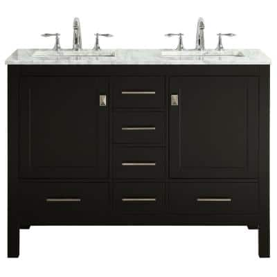 Aberdeen 48 in. Transitional Bathroom Vanity in Espresso with Top in White Carrara Counter with Double Sinks