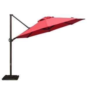 11 ft. Cantilever Push Tilt Patio Umbrella in Dark Red