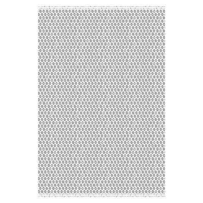 Diamond Grey 1 ft. 8 in. x 2 ft. 6 in. Geometric Indoor/Outdoor Vinyl Floor Rug