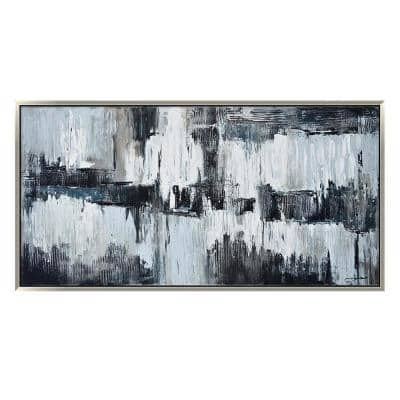 """""""Black and Grey Abstract in. Silver Wooden Floating Frame Hand Painted Acrylic Wall Art 59 in. x 30 in."""