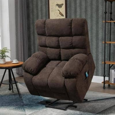 40 in. W Big Chocolate Power Lift Massage Recliner Chair Heavy Duty for Living Room with 3-Position Soft Fabric