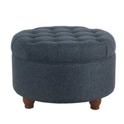 Navy Blue Fabric Upholstered Wooden Ottoman with Tufted Lift Off Lid Storage