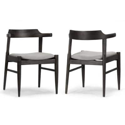 Atlas Retro Modern Black Wood Chair with Curved Back (Set of 2)