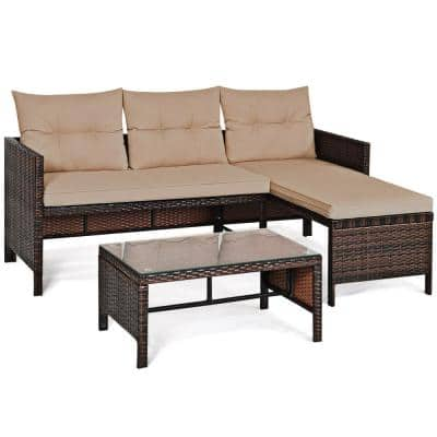 3-Piece Wicker Outdoor Corner Sofa Sectional Set with CushionGuard Beige Cushions and Coffee Table