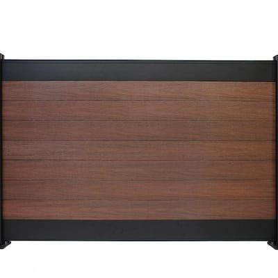 Euro Style 4 ft. x 6 ft. Black Top Black Rose Aluminum/Composite Horizontal Fence Panel