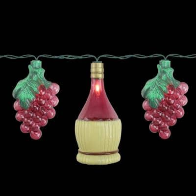 7.5 ft. 10-Light Clear Grape and Wine Bottle Outdoor Patio Incandescent Mini Lights with Green Wire Bulbs