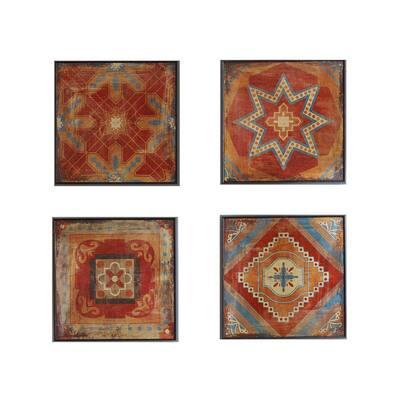 Moroccan Tile 4-Piece Red Gel Coat Deco Box Set Wall Art 15 in. x 15 in.