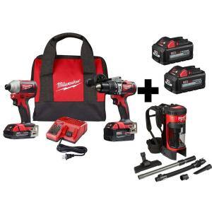 M18 18-Volt Lithium-Ion Brushless Cordless Hammer Drill/Impact/Backpack Vacuum Combo Kit (3-Tool) with 4-Batteries