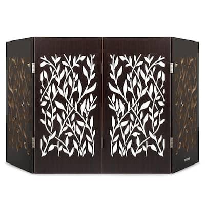 Decorative Freestanding Pet Gate, Walnut Vines