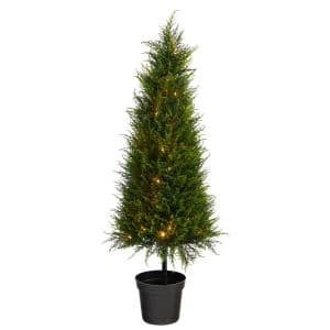 3.5ft. Cypress Artificial Tree with 350 LED Lights UV Resistant (Indoor/Outdoor)