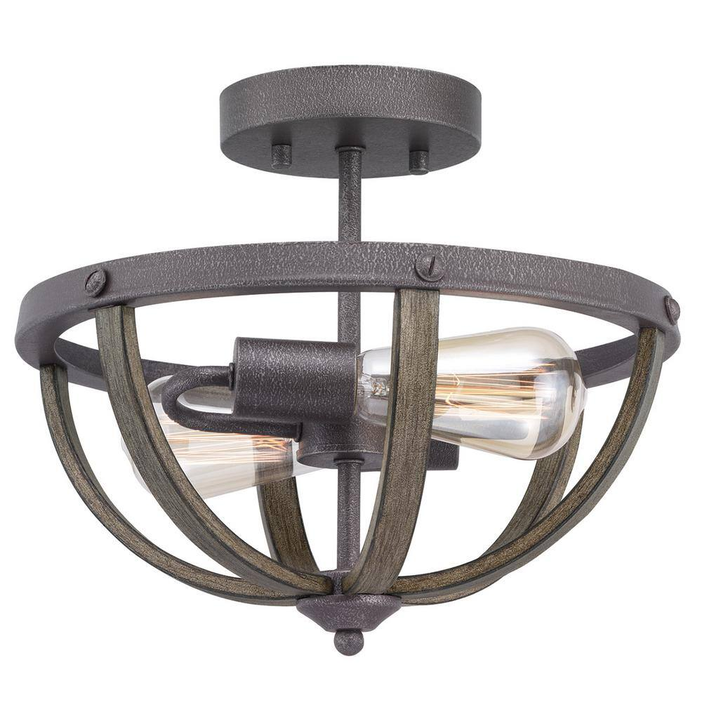 Progress Lighting Keowee 13 In 2 Light Artisan Iron Semi Flush Mount With Elm Wood Accents P350138 148di The Home Depot