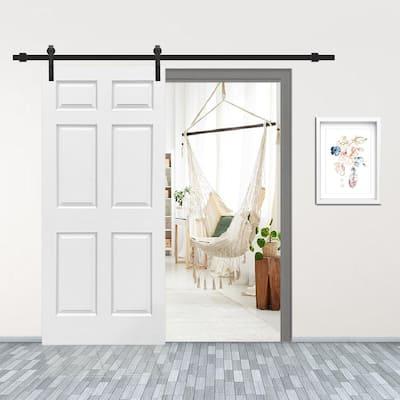 30 in. x 80 in. White Primed MDF 6 Panel Interior Sliding Barn Door with Hardware Kit