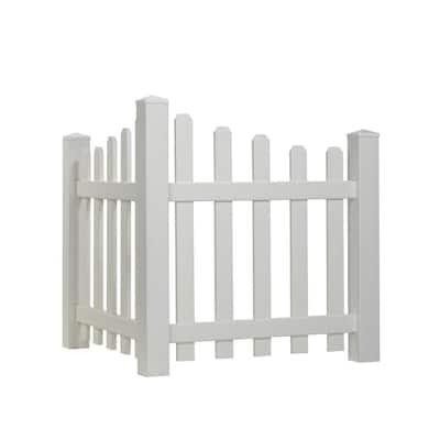 4 ft. H x 3.5 ft. W White Vinyl Dog Ear Scalloped Spaced Picket Corner Accent Fence Panel Kit