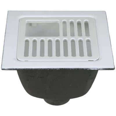 12 in. x 12 in.Acid Resisting Enamel Coated Floor Sink with 3 in. No-Hub Connection and 6 in. Sump Depth