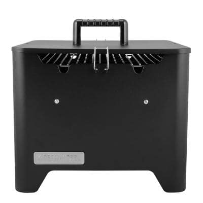 Portable Square Charcoal Grill in Black