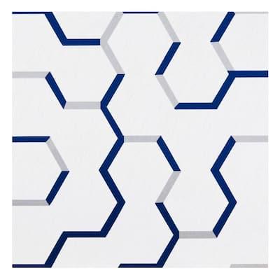 Retro 12 in. W x 12 in. L Geo Puzzle Navy Water Resistant Peel and Stick Vinyl Tile Flooring (20 sq. ft./case)