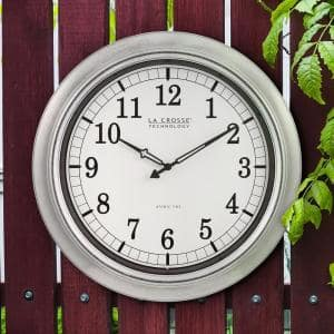 Westclox Silver Finish 12 In Round Metal Frame Outdoor Wall Clock 49832 The Home Depot