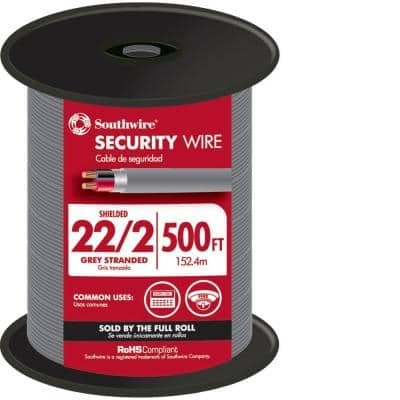 500 ft. 22/2 Gray Stranded CU CL3R Shielded Security Cable