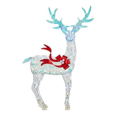 6 ft 90-Light White Sparkle Iridescent Reindeer Buck Yard Sculpture