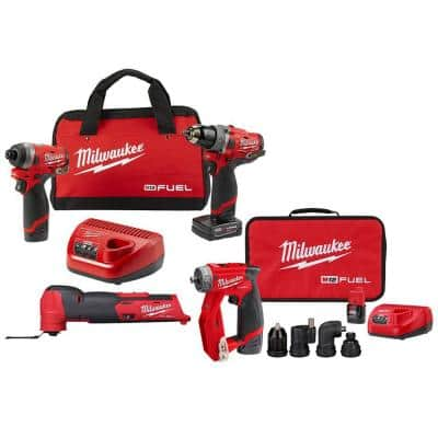 M12 FUEL 12-Volt Cordless Hammer Drill & Impact Driver w/4-in-1 Installation 3/8 in. Drill Driver & Multi-Tool Combo Kit