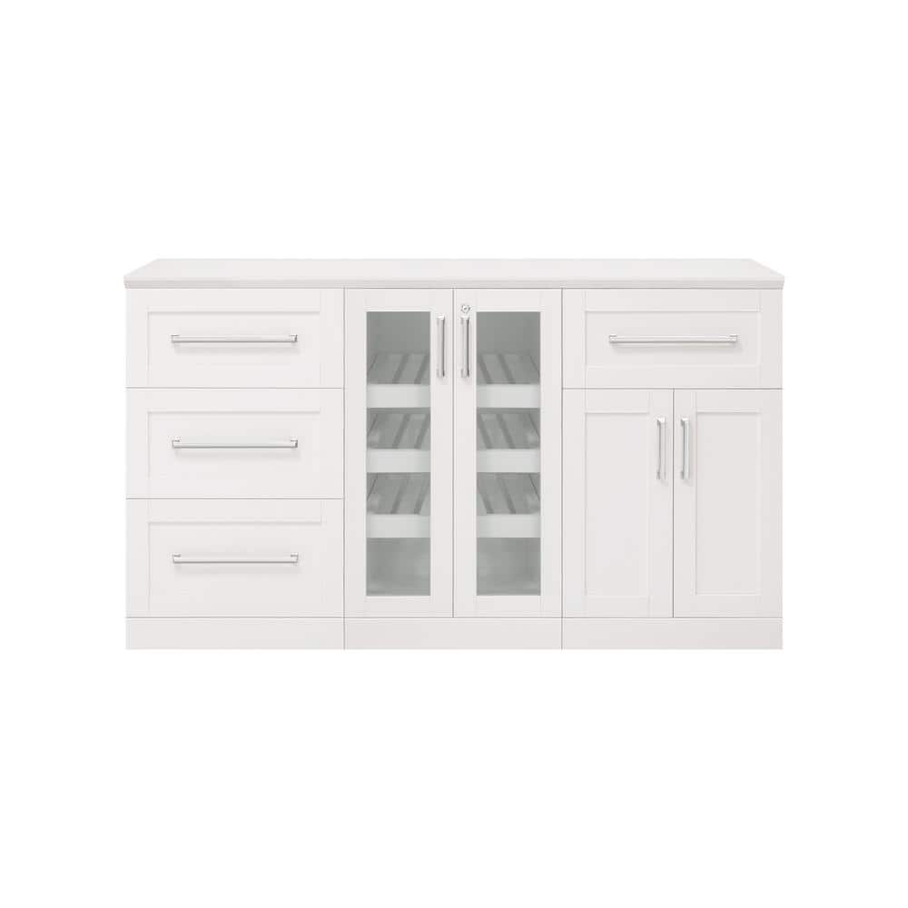 Newage Products Home Bar 21 In White Cabinet Set 4 Piece 61333 The Home Depot