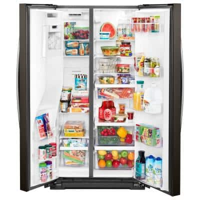 21 cu. ft. Side By Side Refrigerator in Fingerprint Resistant Black Stainless, Counter Depth