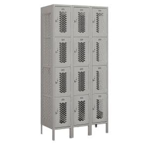 74000 Series 12 Compartments Four Tier 36 In. W x 78 In. H x 18 In. D Vented Metal Locker Assembled in Gray