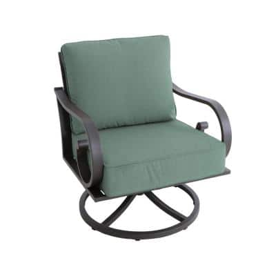 Milano Brown Swivel Metal Outdoor Lounge Chair with Teal Cushions (2-Pack)