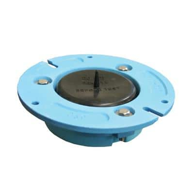 4 in. x 2 in. No Caulk Code Blue Cast Iron Water Closet (Toilet) Flange with Test Cap for Cast Iron or Plastic Pipe